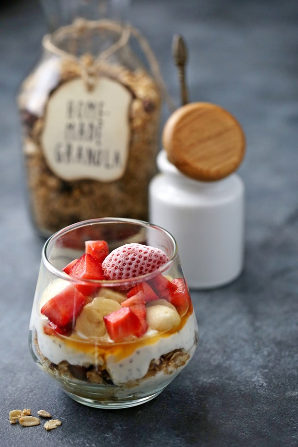 Fruits-with-Cream-Granola-Parfaits-2-1000 Baking | Fruits with Cream & Granola Parfaits ... dessert for breakfast with cream, fruit & homemade granola