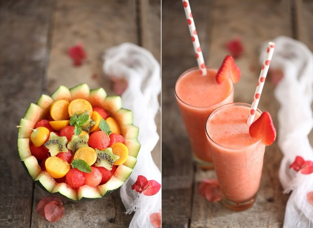 Strawberry-Pineapple-Smoothies-Watermelon-Kiwi-Gooseberry-Fruit-Bowl-1 Food Talk | Strawberry Pineapple Smoothies & Watermelon Kiwi Gooseberry Fruit Bowl- going Tropical with Chumbak