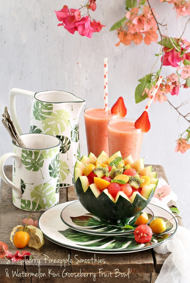Strawberry-Pineapple-Smoothies-Watermelon-Kiwi-Gooseberry-Fruit-Bowl Food Talk | Strawberry Pineapple Smoothies & Watermelon Kiwi Gooseberry Fruit Bowl- going Tropical with Chumbak