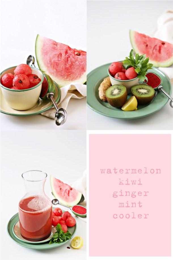 watermelon-kiwi-ginger-mint-cooler 3 ways with Watermelon - Pizza  Cooler Salad #summer #healthy #inspiration #raw