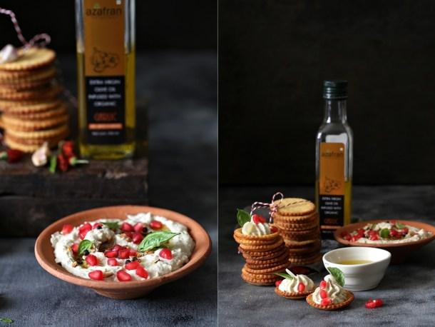 Polenta-Cheese-Crackers-Eggplant-Melon-Seed-Dip-4 Polenta Cheese Crackers and a cracker of an Eggplant Melon Seed Dip … with infused olive oils