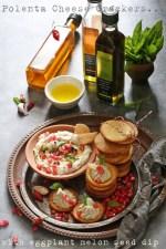 Polenta-Cheese-Crackers-Eggplant-Melon-Seed-Dip Polenta Cheese Crackers and a cracker of an Eggplant Melon Seed Dip … with infused olive oils