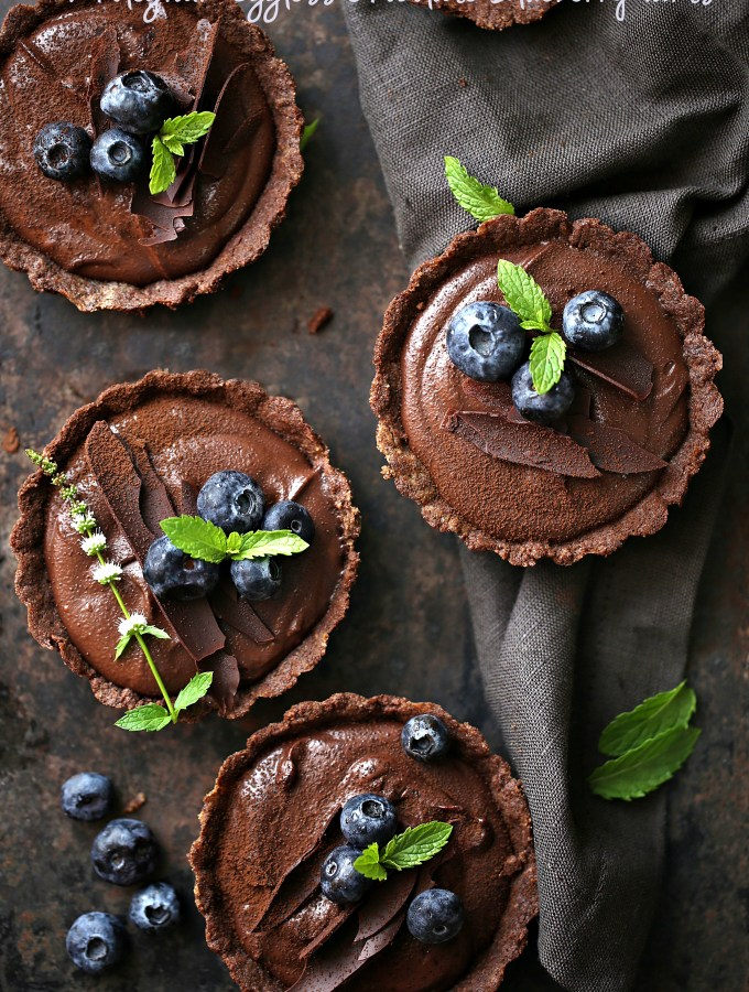 Wholegrain Eggless Chocolate Blueberry Tarts … sometimes chocolate IS the answer!