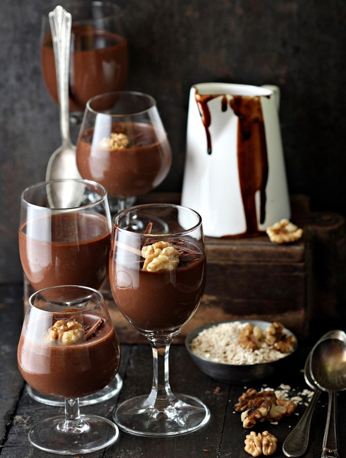 Dark Chocolate Oat Walnut Pudding {eggless}