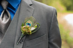 peacock Boutonnière - Kelowna Flower Delivery Shop | Flower Arrangements & Bouquets - Passionate Blooms