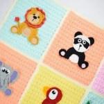Crochet Safari Jungle Baby Blanket With 9 Animal Appliques