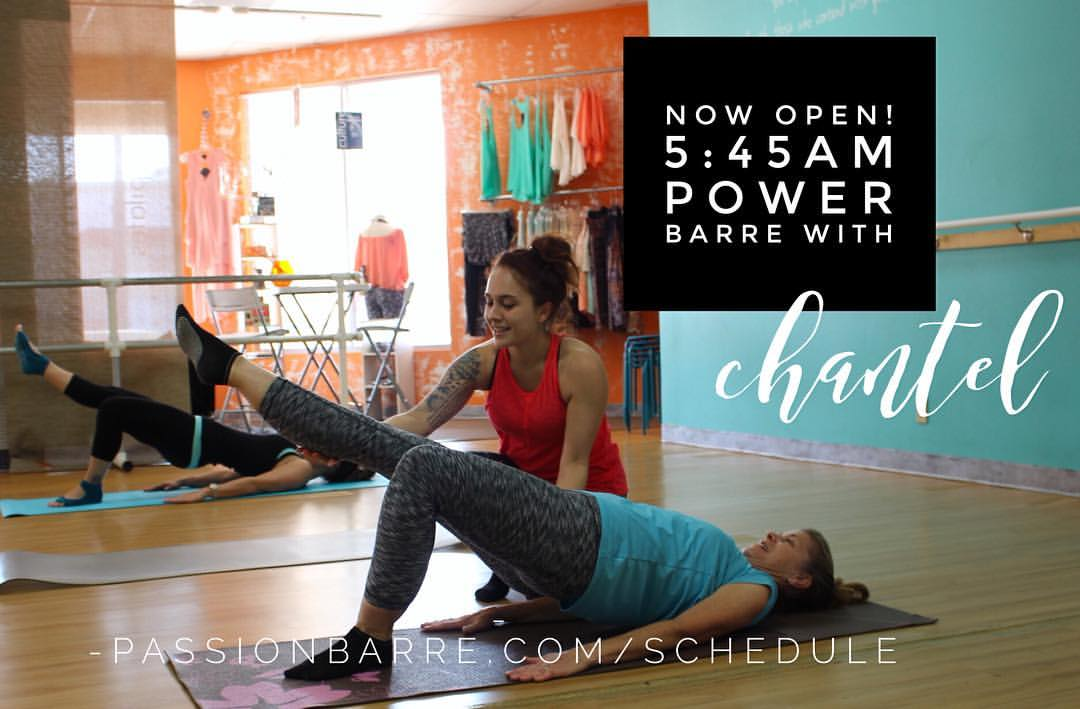 5:45AM class announcement with Passion Barre Instructor guiding client in Pelvic Stabilizing and glute firming exercise