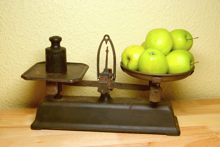 Passion Barre blog balance scale image of apples versus metal weight
