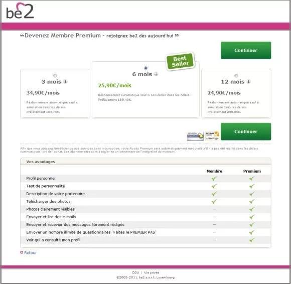Tarifs Be2 - Abonnement Premium