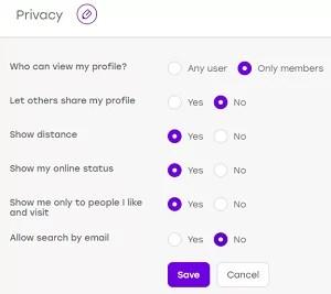 Edit Badoo privacy settings