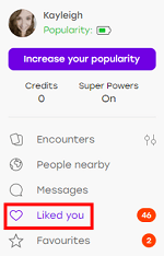 Users who have liked your profile