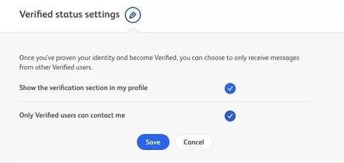 Badoo verified status settings