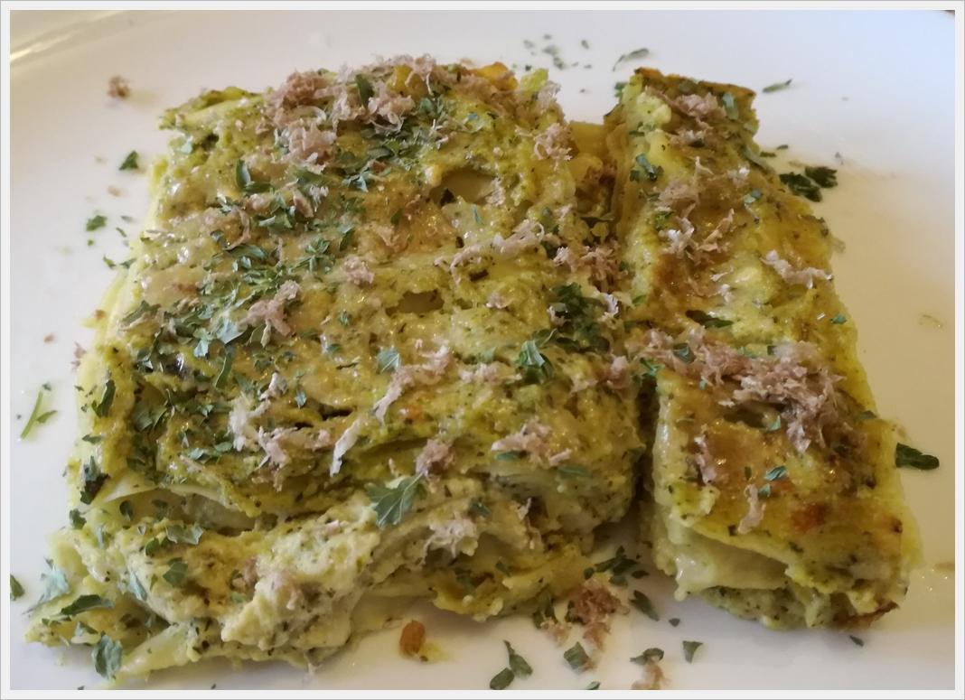 Lasagne alla crema di zucchine e ricotta con tartufo bianco di Alba