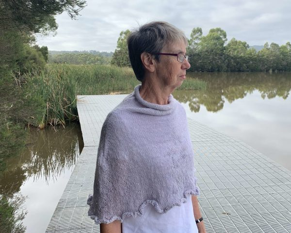 Cowl neck poncho in lilac