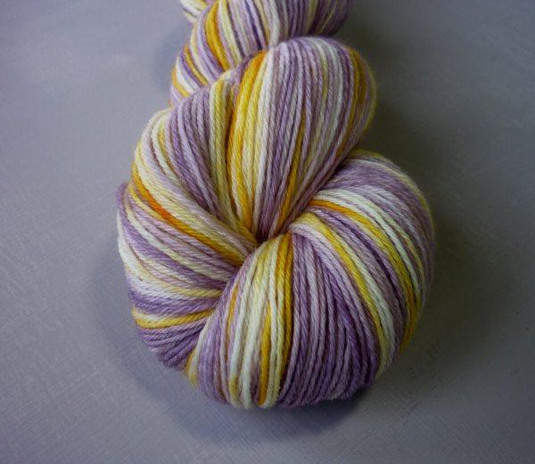 Close up of Pansy sock yarn