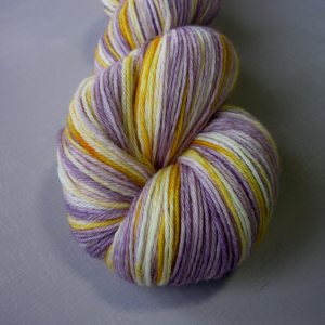Close up of Pansy sock yarn
