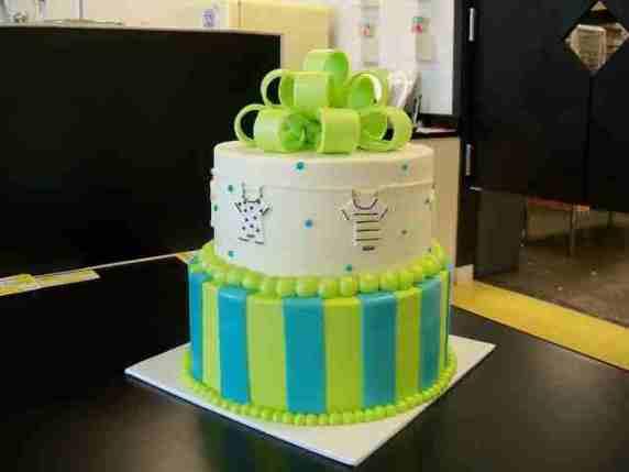 baby shower torta verde e blu