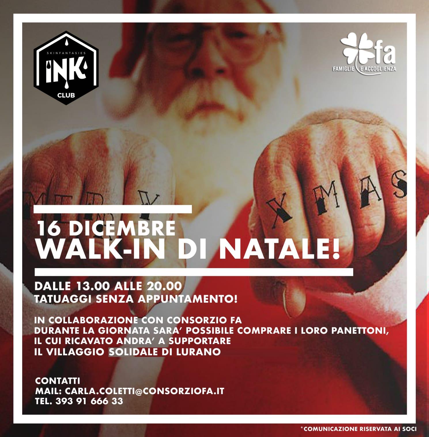Walk-In di Natale: tatuaggi a sostegno del Villaggio Solidale