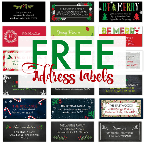 FREE Christmas Address Labels From Shutterfly