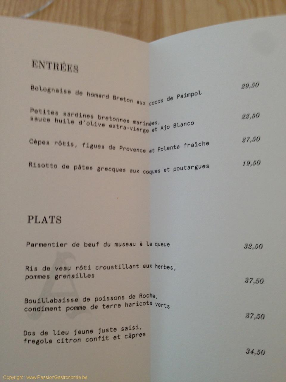 Restaurant Amen - La carte