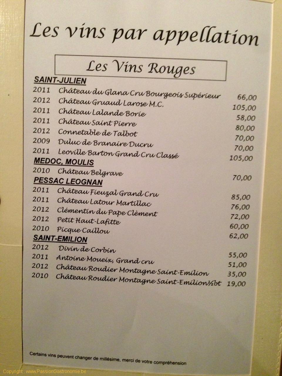 Restaurant L'Attrape Loup - La carte des vins
