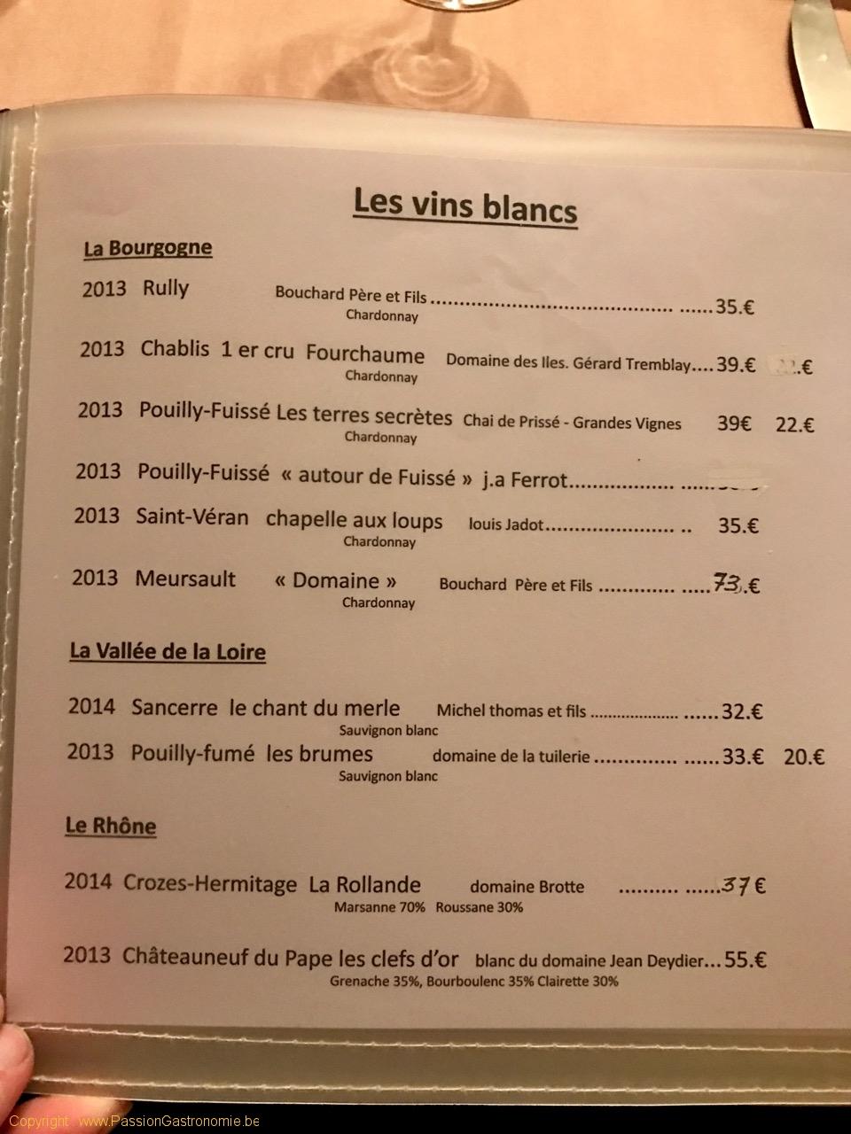 Restaurant Au Provencal - Les vins blancs
