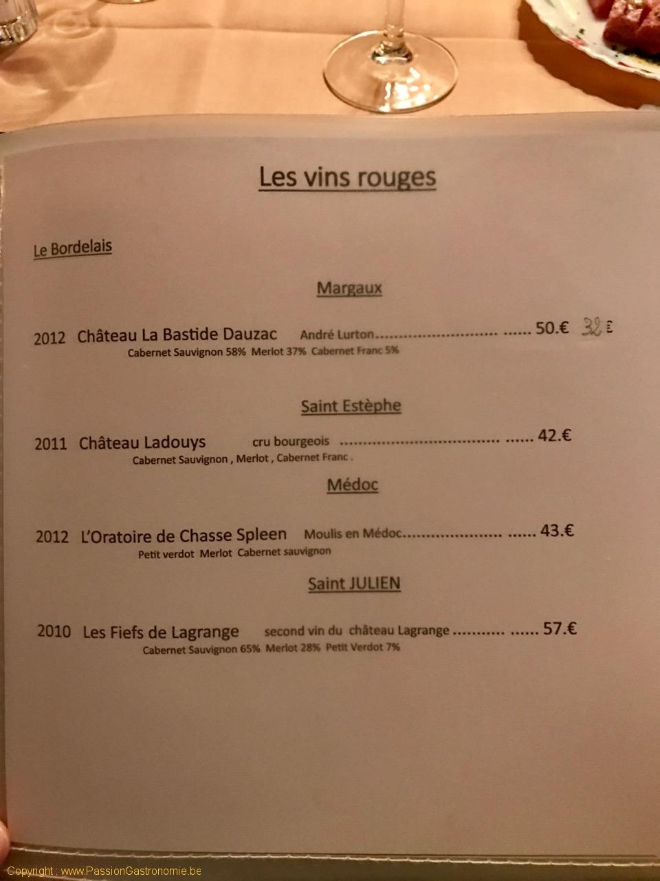 Restaurant Au Provencal - Les vins rouges