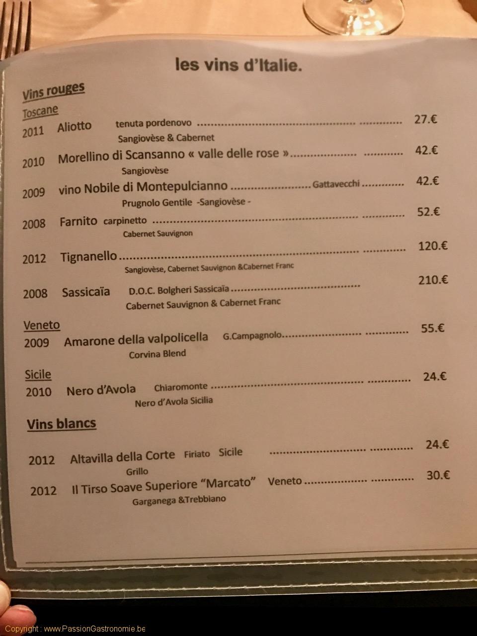 Restaurant Au Provencal - Les vins d'Italie