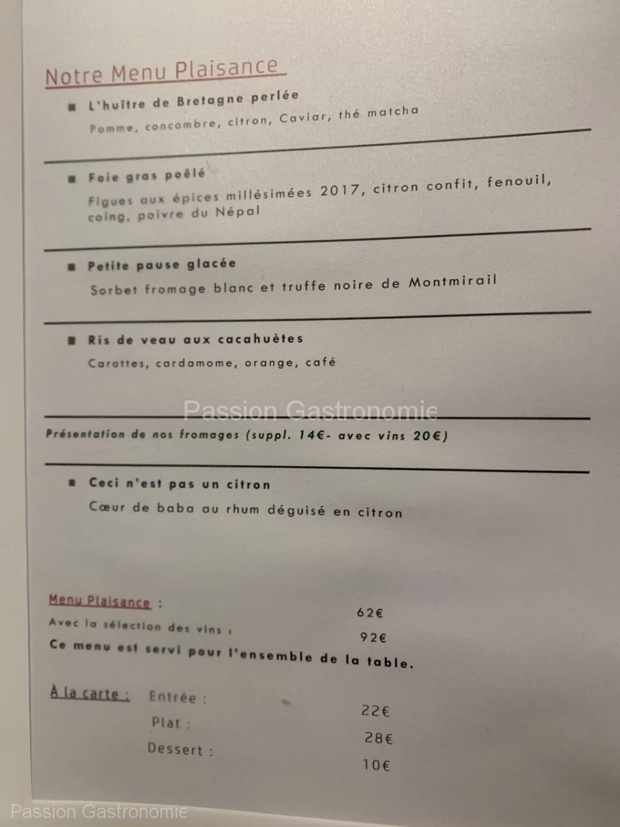 Restaurant La Plage d'Amée - Le Menu Plaisance