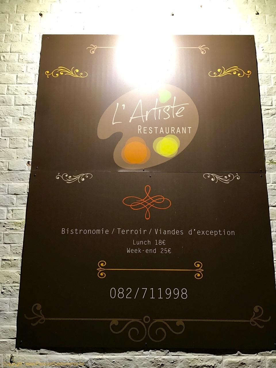 Restaurant L'Artiste à Falaen - L'enseigne