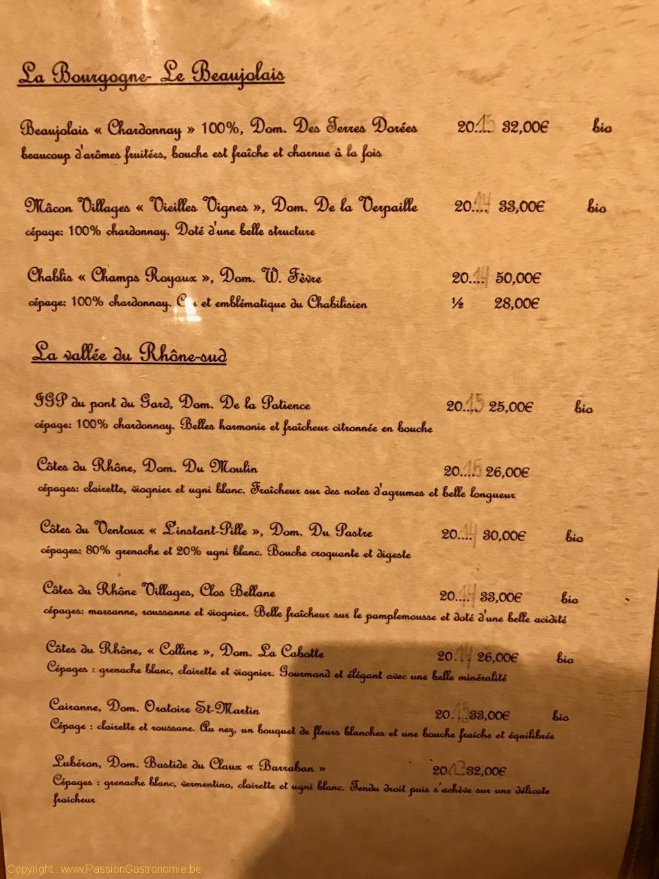 Restaurant L'Artiste à Falaen - La carte des vins