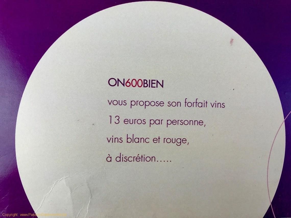 Restaurant On600Bien - Le forfait vin