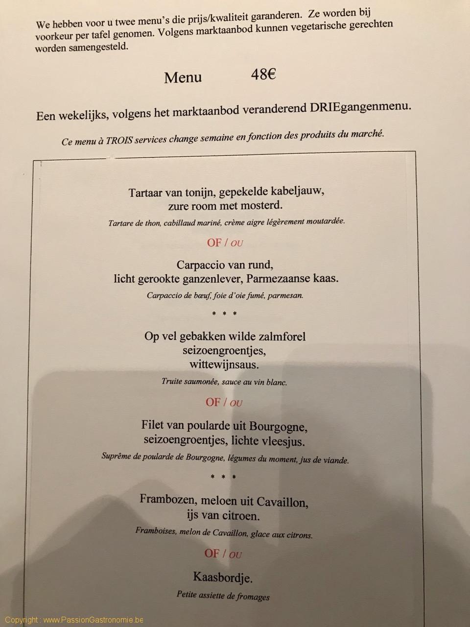 Restaurant Philippe Nuyens - Le menu trois services