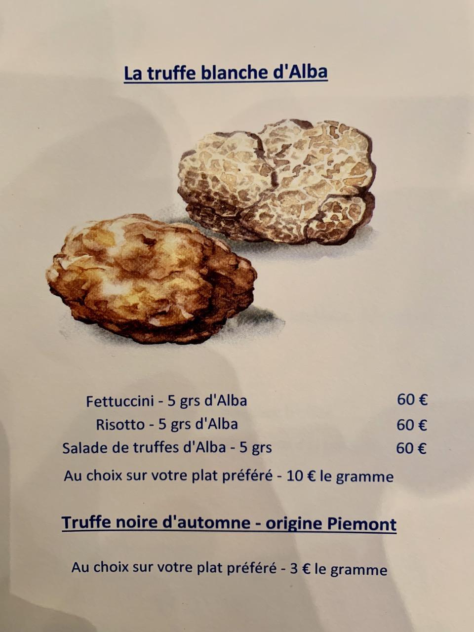 Restaurant Tribeca - Les suggestions autour de la truffe