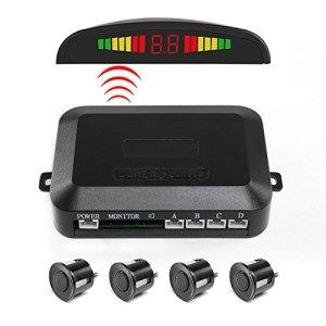 Capteur de stationnement, Funanasun 2,4G sans fil de voiture véhicule inverse Radar de sauvegarde Système auto arrière écran LED Alerte avec 4capteurs d'alarme/sonnerie