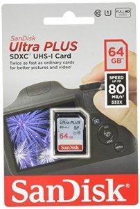 Carte mémoire SDXC SanDisk Ultra PLUS 64 Go, Classe 10