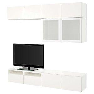 IKEA BESTA – combinaison de rangement TV / portes en verre blanc / Selsviken haute brillance / blanc en verre dépoli