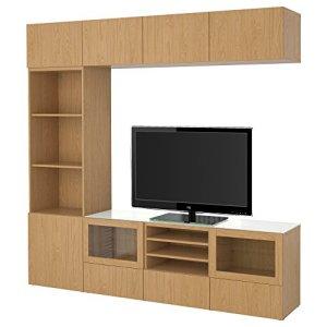 IKEA BESTA – combinaison de rangement TV / portes en verre Lappviken / sindvik effet chêne verre clair