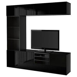 IKEA BESTA – Stockage TV portes combinaison / verre noir-marron / Selsviken haute brillance / noir verre fumé