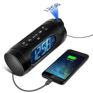 Radio Reveil avec Projecteur, Kozy Life 1,6 «LED Dimmableradio Radio Reveil Projection Plafond avec FM, Charge USB, Double Alarme, Batterie de Secours, Minuterie De Sommeil et Température Intérieure