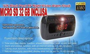Réveil avec caméra + Micro SD 32Go Horloge espion 1920x 1080full hD night vision Motion Detector CW80acheter Web