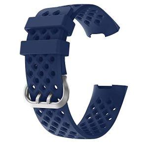 Compatible avec Fitbit Charge 3Sangle, Unisexe, Sport Watchbands de Remplacement en Silicone Respirant Sangles élastiques Montre Accessoires Fitness Bracelet Petite Taille 13– 19,8cm Bleu Marine