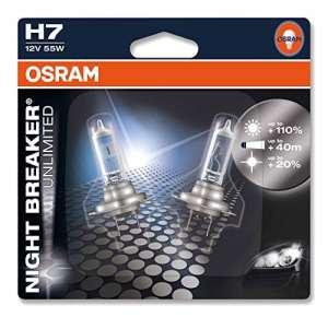 OSRAM NIGHT BREAKER UNLIMITED H7 Lampe Halogène 64210NBU-02B 12V Blister Double Set de 2