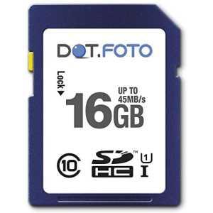 Dot.Foto – 16 Go Carte mémoire SDHC Classe 10 UHS-1 – 45Mo/sec pour appareils photo Panasonic Lumix DMC-FS [Pour la compatibilité voir la description]