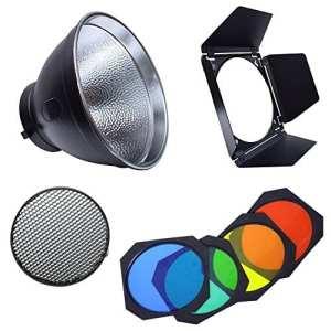 Naconic Bd-04Barn Door Grille nid d'abeille et 4Gel de couleur filtre + réflecteur standard Bowens pour flash de studio