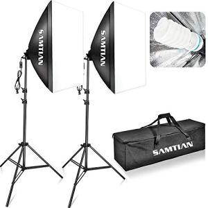 SAMTIAN Softbox Kit Éclairage Continu 20 «x28» / 50x70cm lumière de studio de photo avec le support léger de 2M et la boîte molle de prise de la photographie E27 5500K