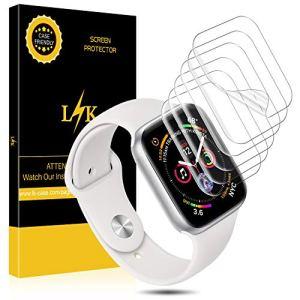 L K [6 Pièces Protection Écran pour Apple Watch 44mm Serie 4, Peau Liquide [sans Bulles] Transparent TPU Film Protection écran Apple Watch 44mm Serial 4