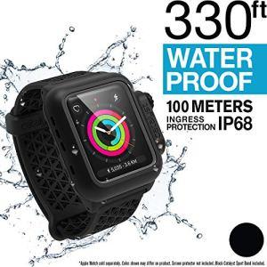 Catalyseur étanche à l'eau Apple Watch Case 42mm séries 2 et 3 avec Premium Soft Silicone Apple Watch Band, résistant aux Chocs et aux impacts[Rugged iWatch Protective Case], Sports Band Noir