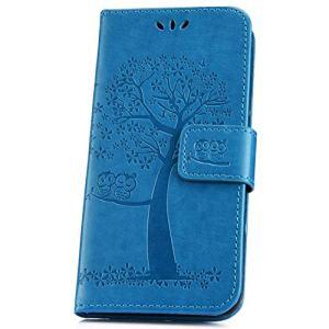 JAWSEU Compatible avec Xiaomi Mi Pocophone F1 Coque Portefeuille PU Étui Cuir à Rabat Magnétique Lovely Belle Chat et Arbre Ultra Mince Stand Leather PU Flip Wallet Case,Bleu