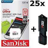 SanDisk Ultra SDSQUNS-032G Lot de 25 Cartes mémoire microSD HC Classe 10 UHS-1 32 Go